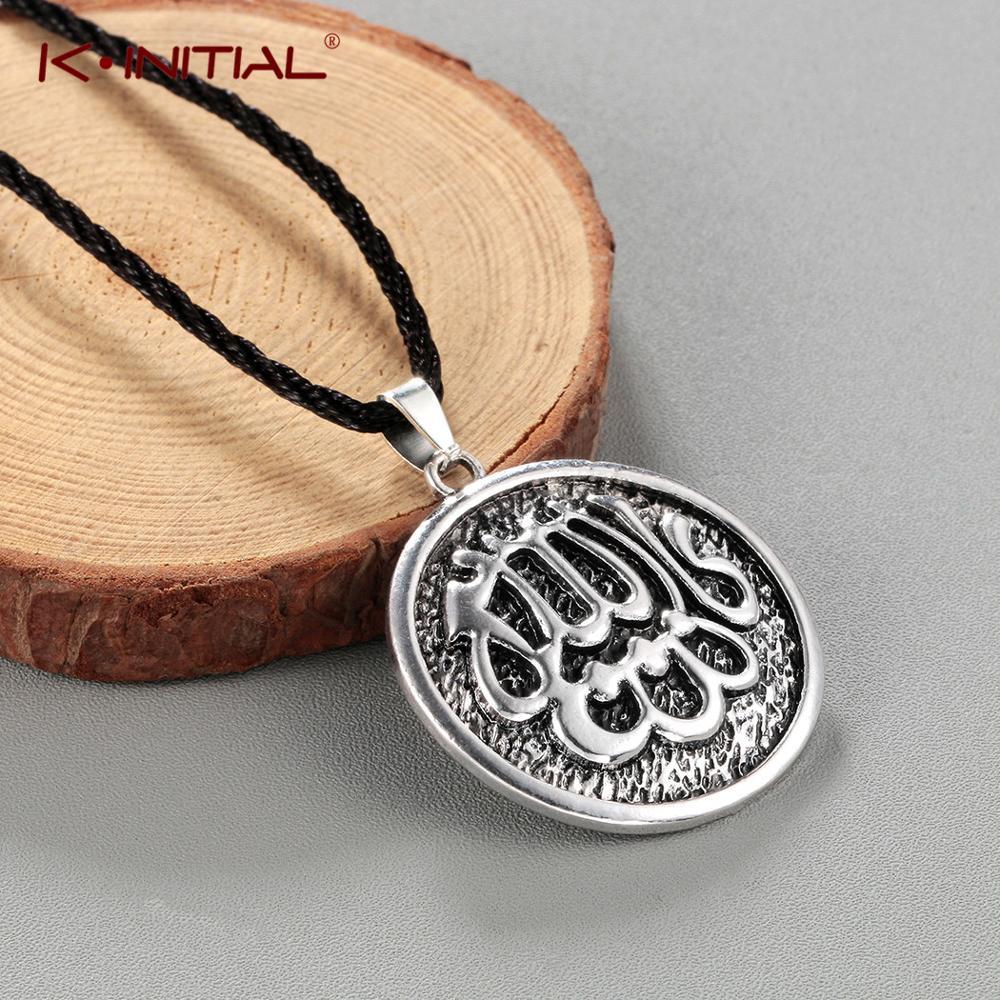 Мужские и женские бронзовые ожерелья Kinitial в мусульманском стиле, мужские веревочные цепочки, гравированные мусульманские ожерелья Бога и п...