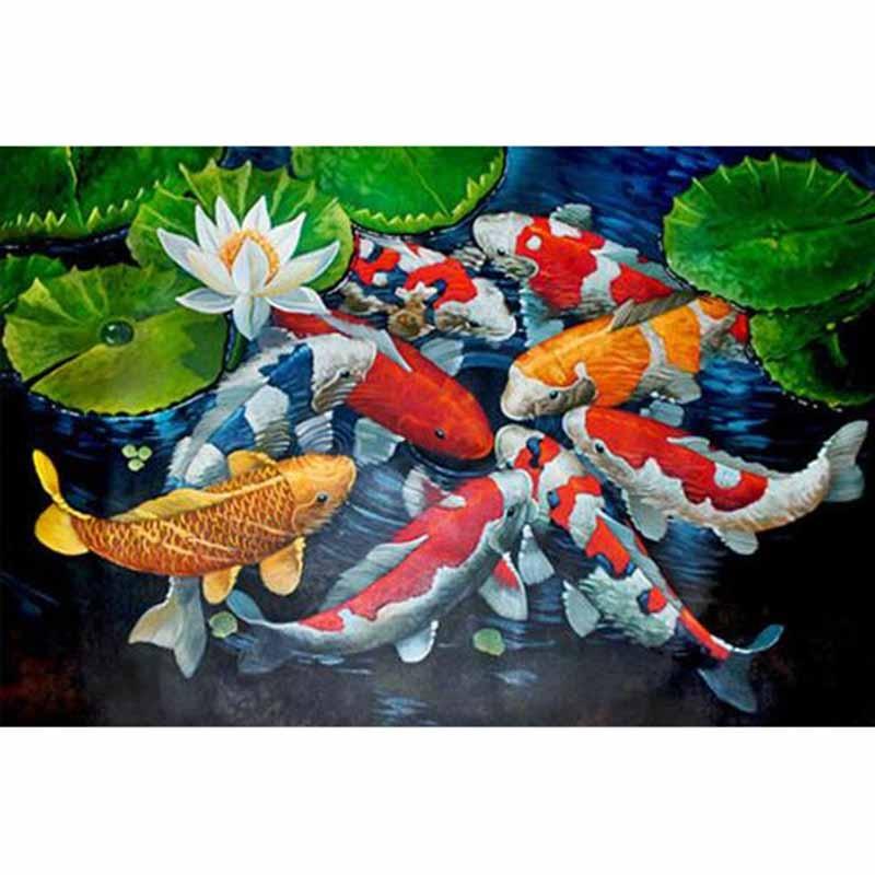 Diamond Embroidery Needlework Diamond Mosaic Home Decoration fine Wishing Pool Fish Jar Money 5d Full Resin Diamond Painting