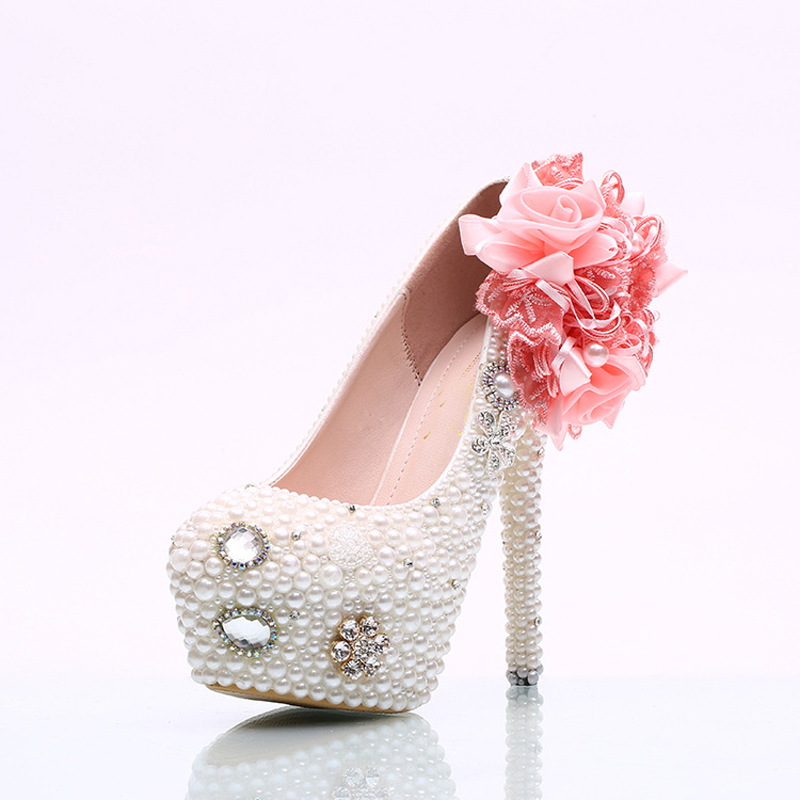 5faf10e8c8c White Pearl Wedding Shoes with Pink Lace Appliques Custom Made Women ...