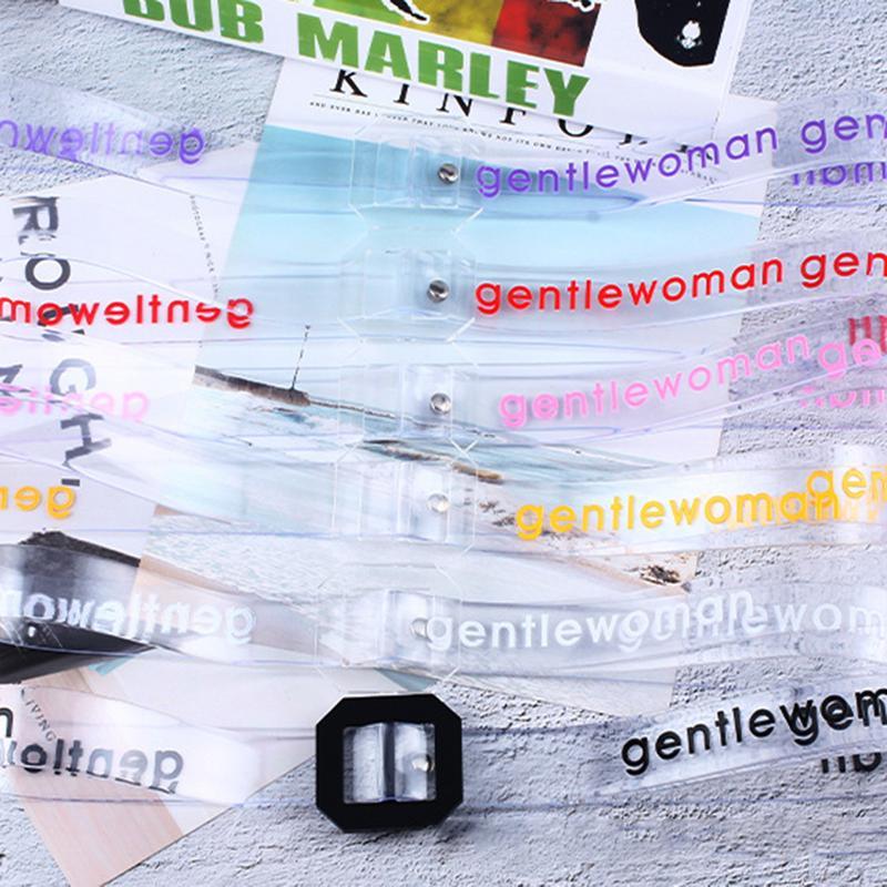 Fashion Women Transparent Letters Waist   Belts   Square Buckle Ladies Brand Designer Long Waistband Adjustable   Belt