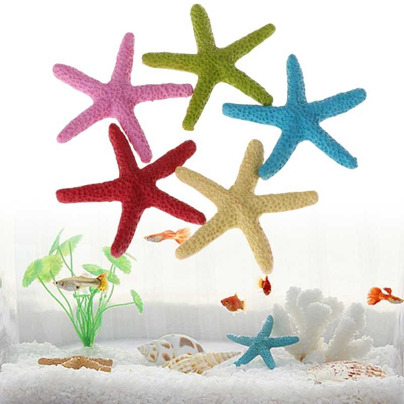 5pcs Fish Tank Artificial Starfish Decoration Aquarium Ornament Resin Simulation