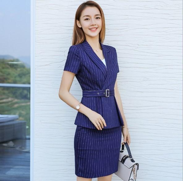 Female Summer Two Pieces Set Interview Suits Black Blue Striped Plus Size Skirt/Pant Suits For Women Office Short Sleeve Blazer