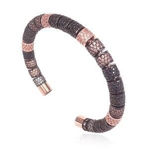 Image 4 - New Original Bangle Rose Gold & Black Color White Black Zircon Tube Beads Stringing Up Women Men Bracelets 2018 New Year Gifts