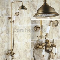 Antique Brass Shower Set Faucet 8.2 Rain Shower Mixer Bath Tub Faucet Tap w/ Hand Sprayer Wall Mount Dual Handles lrs160