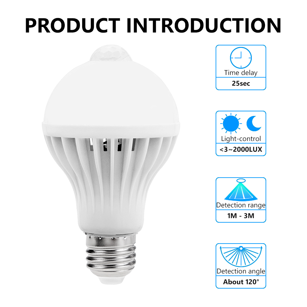TSLEEN 5W 7W 9W E27 PIR Infrared Motion Sensor Bulb Smart Detective Lamp LED Light Sound Light 220V Super Brightness LED Lamps