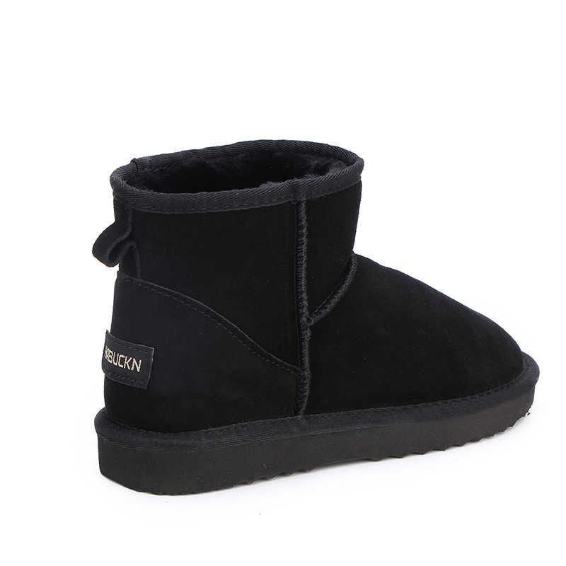 HABUCKN จริงหนังสั้นข้อเท้า suede รองเท้าบู๊ตหิมะสำหรับสตรีขนสัตว์เรียงรายฤดูหนาวรองเท้าหิมะสีน้ำตาลสีน้ำตาลสีดำ