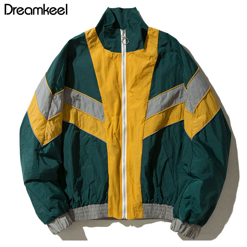 dreamkeel winter bomber jacket men clothes Vintage Multicolor Color Block Patchwork
