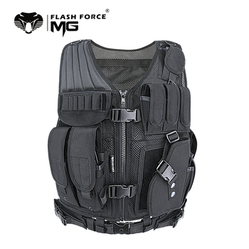 MGFLASHFORCE Adjustable Tactical Vest Molle Swat Army Military Combat Assault Body Armor Hunting Fishing Shooting Airsoft Vest 1