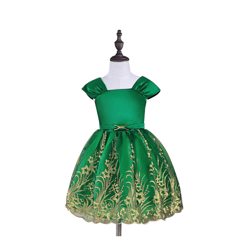 New Gold Wire Floral Pattern Shoulder Dresses Green Knee Length Princess Party Dresses for 2 to 6 Years Robe Fille Enfant акустические кабели atlas hyper bi wire 2 to 4 5 0m transpose z plug gold