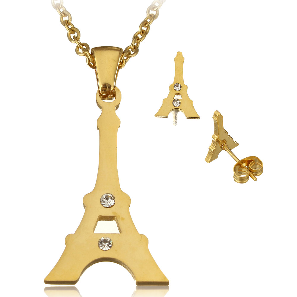 Yyw Rhinestone Goldcolor Stainless Steel Jewelry Necklace Sets Cute Eiffel  Tower Stud Earring Pendant
