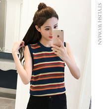 Camisole Femme Womens Tank 2018 Summer Color Striped Sleeveless Top Mujer Sexy Slim Tops Korean Fashion Woman Clothing