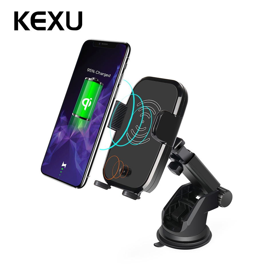 10 w Qi Montage Sans Fil Chargeur De Voiture Facile Tactile Automatique IR Véhicule Téléphone Mount Holder pour Samsung Galaxy S9 S8 s7 Note 8 iPhone X