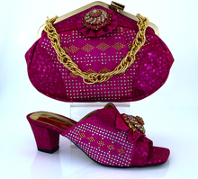 2016 new arrival Free shipping fashion Italian shoes with matching bags set for wedding African shoes and bag sets with MM1011