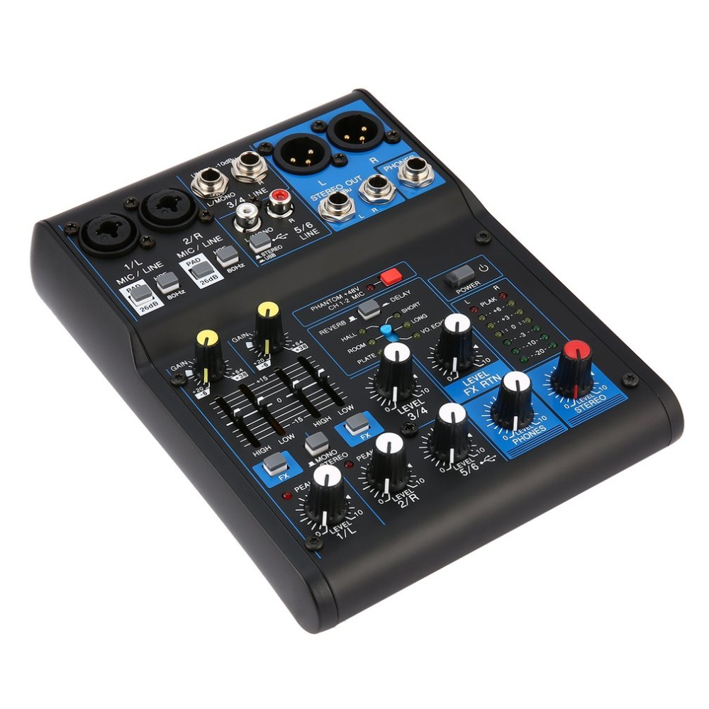 4 Channel Power Audio DJ Mixer US Plug Professional Power Mixing Amplifier USB Slot 16DSP +48V Phantom Power for Microphones leory mini karaoke audio mixer 4 channel microphone digital sound mixing amplifier console built in 48v phantom power with usb