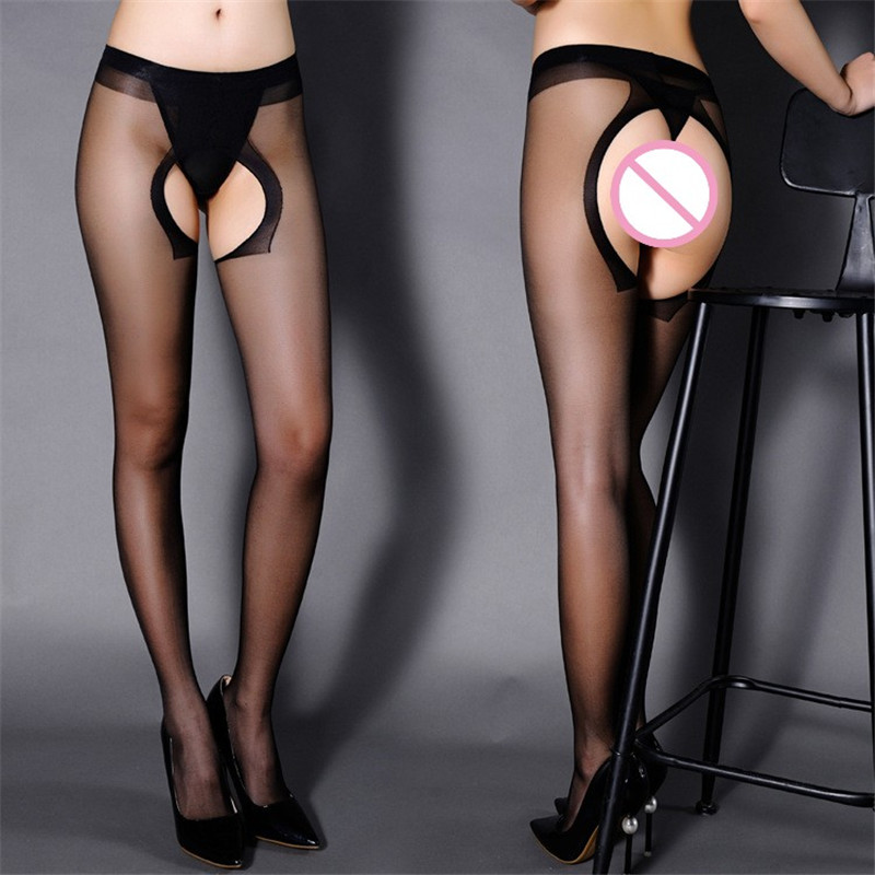 Black/Nude/Gray Sexy Pantyhose Open Crotch Sexy Lingerie Hot See Through Thigh High Stockings Female Nylon Stockings Sexy Tights