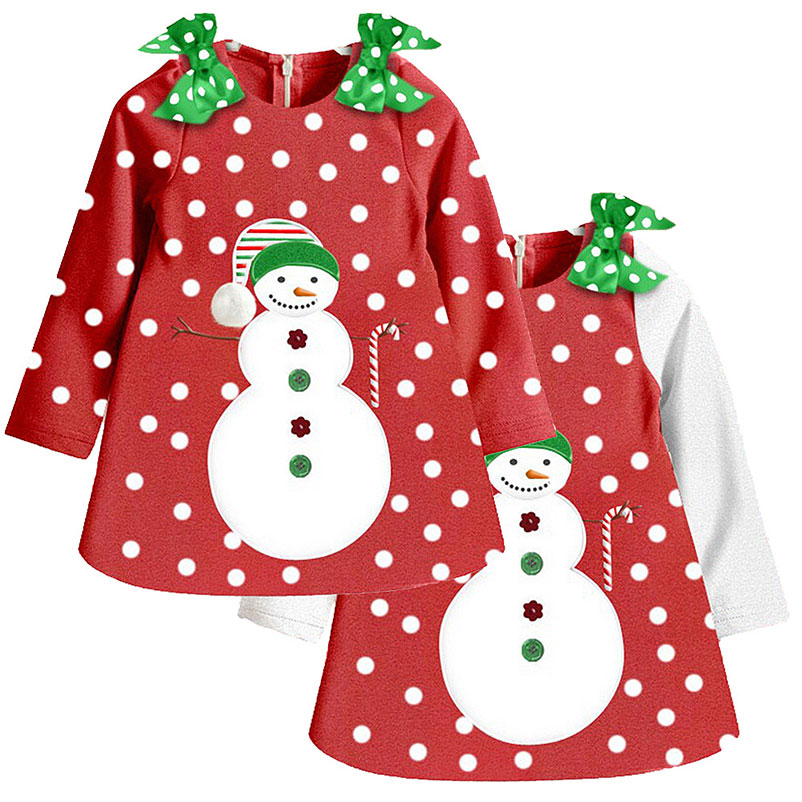 Consumer Electronics Temperate 1-7 Years Baby Grils Long Sleeves Dress Clothes Kids Cotton Bow Cute Cartoon Snowman Printed Dress Clothing Mobile Phone Straps