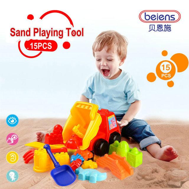 15 pçs/set marca de alta qualidade do bebê PP plástico areia ferramenta de jogo crianças Bath Toy Dump carro para 3 + crianças verão brinquedos ao ar livre presentes
