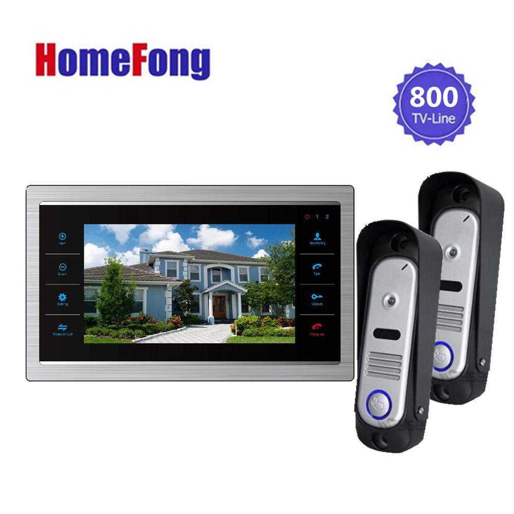 Homefong HD 2XOutdoor Doorbell Camera and 1X7inch LCD Indoor Display Monitor Color Video Door Phone Home Video Intercom Systems homefong 7inch video door phone intercom video eye 1 indoor monitor 2 800tvl hd doorbell camera video doorbell system