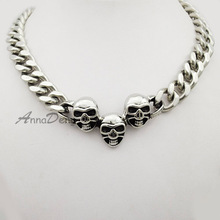 fashion punk cuban silver tone 51cm choker skull necklace for men jewelry stainless steel link chain AN455