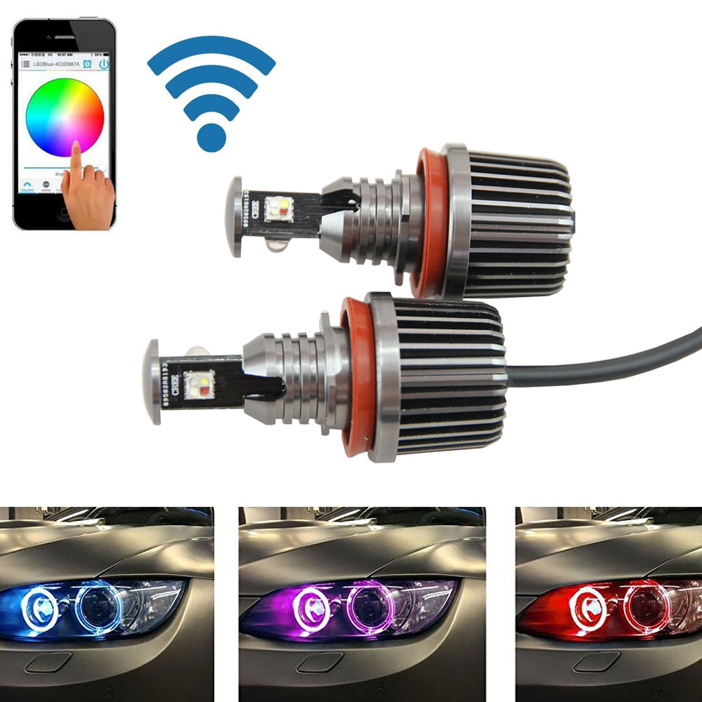 1sets 36W canbus wifi control RGB H8 LED Angel Eyes LED marker bulb halo ring for BMW E82 E90 E92 E93 E70 E71 E60 E61 E63 E64