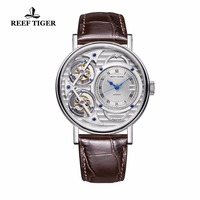 2018 Reef Tiger Fashion Watches Casual Skeleton Mens Automatic Watches Leather Band RGA1995 ( Non moving Double Tourbillon )
