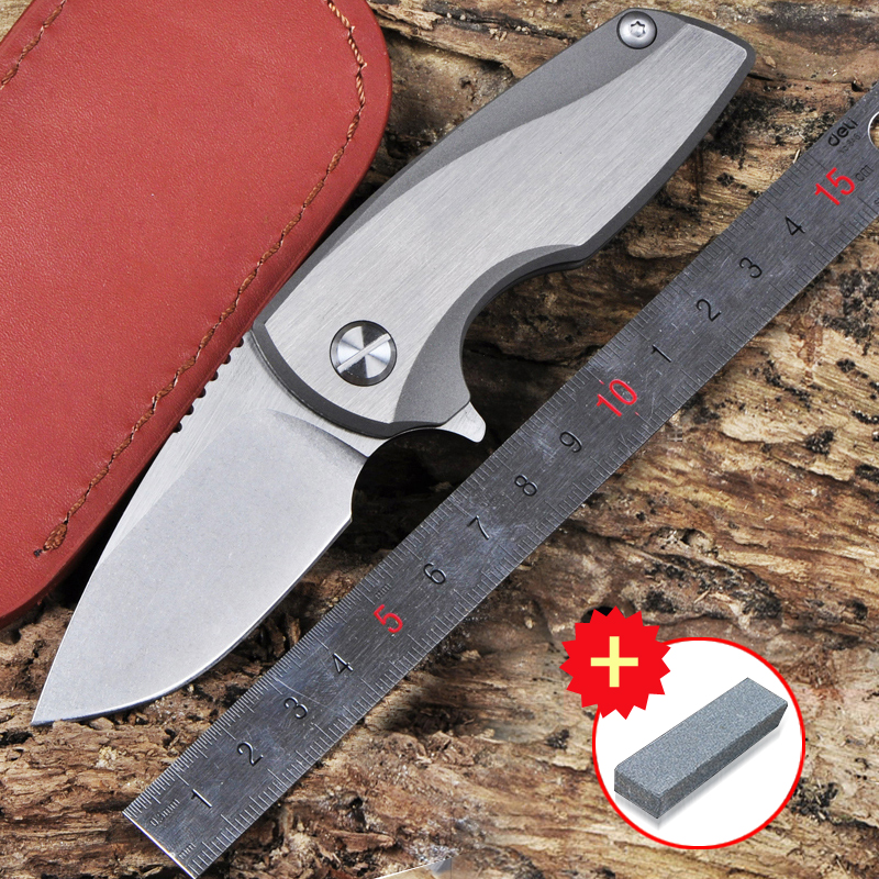 Voltron TC4 titanium alloy D2 steel bearing outdoor camping climbing hunting knife mini folding knife gift