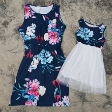 купить Summer Mother and Daughter Dresses Family Look Matching Outfits Mommy and Me Clothes Mama Mom Mum and Daughter Dress Clothing по цене 474.53 рублей
