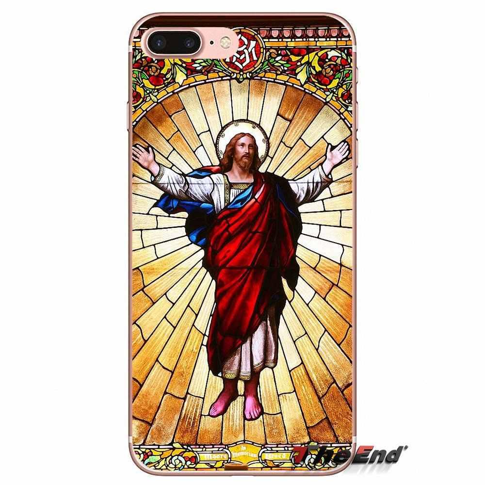 Jésus chapelle Religieuse vitrail étui pour huawei G7 G8 Monter P7 P8 P9 Lite Honneur 4C 5X 5C 6X Mate 7 8 9 Y3 Y5 Y6 II Pro