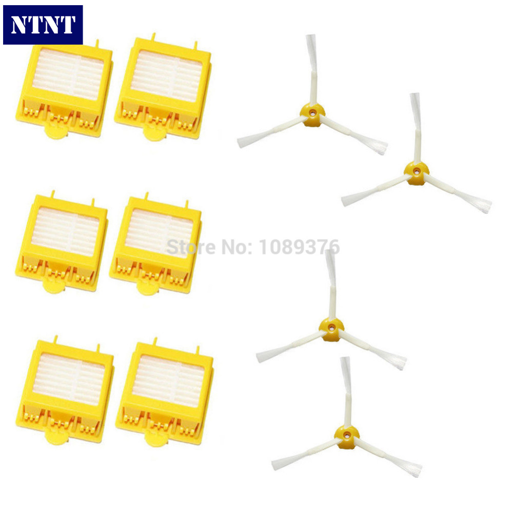 Free Post New 6 hepa Filters + 4 Side Brush 3 Armed for iRobot Roomba 700 Series 760 770 780 free post new filters yellow hepa filter and side 3 armed brush for irobot roomba 700 series 760 770 780 790 cleaner tools set