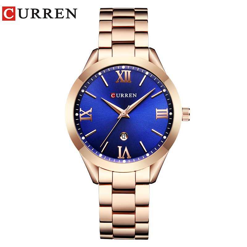 CURREN Fashion Casual Ladies Wrist Watch Stainless Steel Dress Women Watches Calendar Analog Quartz Female Clock Ladies Gifts 2016 new ladies fashion watches decorative grape no word design gold watch stainless steel women casual wrist watch fd0107