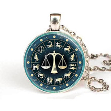 Steampunk 2017 New Libra Necklace Zodiac Jewelry Astrological Sign Scales September October Birthday Astrology Pendant Necklace
