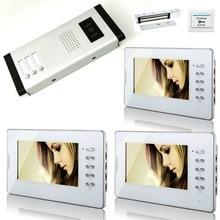 YobangSecurity Wired Door Lock 7″ Video Door phone Intercom System 3 Monitors 1 Camera For 3 Units Villa Apartment Intercom