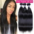 Queen Hair Products Eurasian Virgin Hair Bundle Deals Straight 7A Human Hair Extensions 100%  Human Hair Weave 3 Bundles