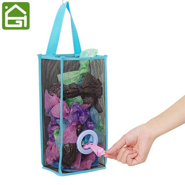 Superior Hanging Mesh Garbage Bag Organizer Dispenser Kitchen Wall Mount Reusable  Grocery Bags Holder Net Trash Bag