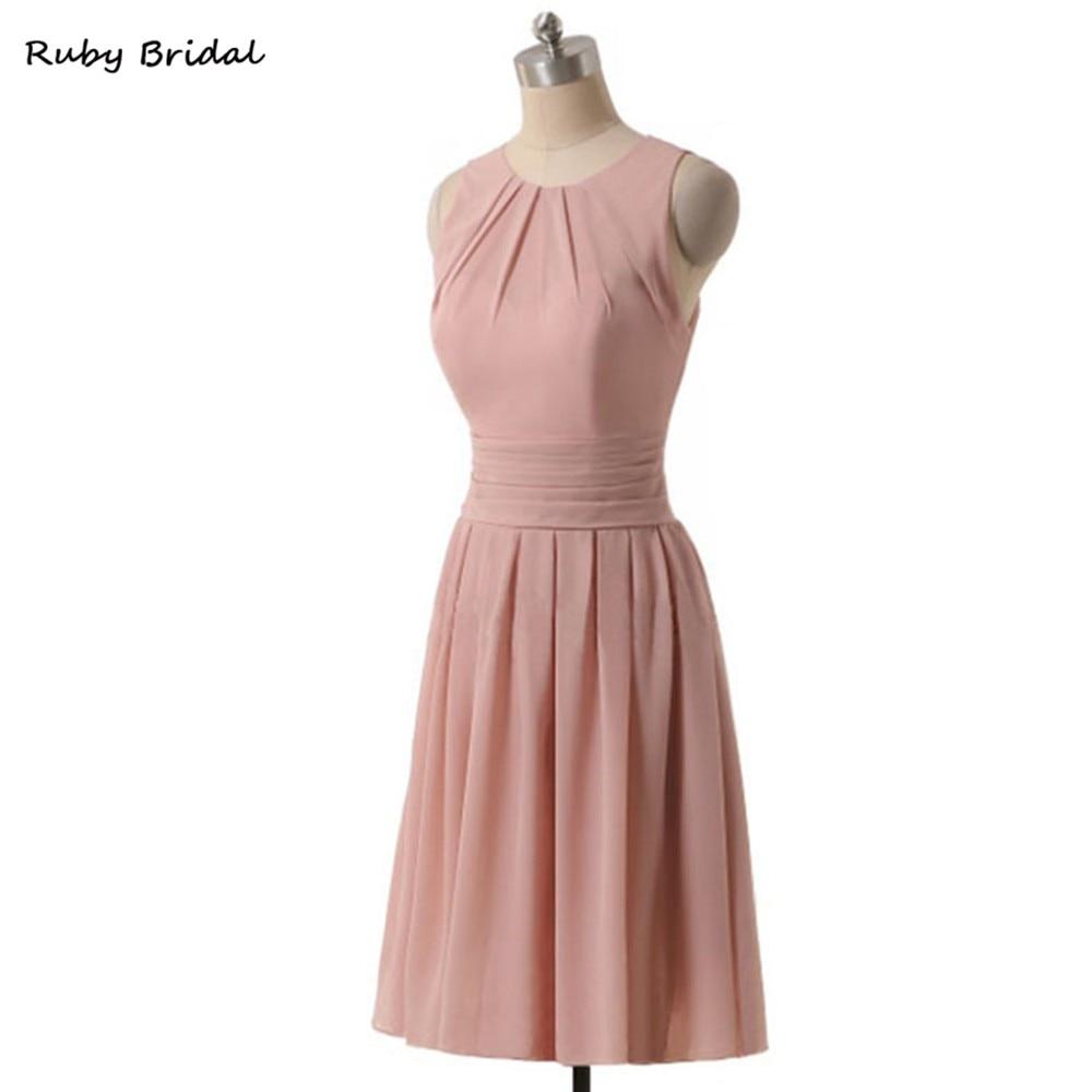 Rubí nupcial encantadora rosa gasa mini Vestidos de dama de honor ...