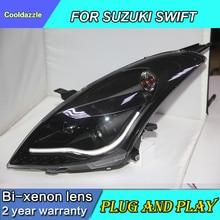 Автомобильный Стайлинг передние фары для SUZUKI SWIFT светодиодный фары передние фары 2010 2011 2012 2013 года с динамическими наушниками токарная обработка
