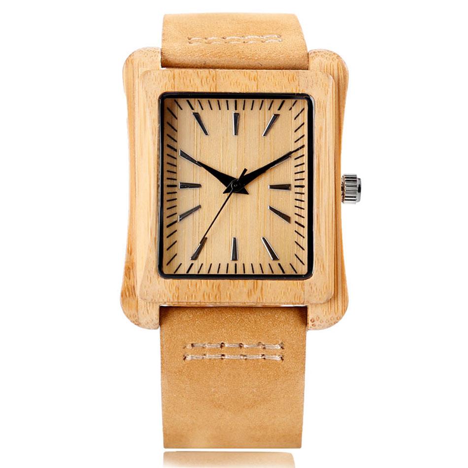 Minimalist Creative Wooden Watch Modern Mens Rectangle Dial Bamboo Leather Band Nature Wood Quartz Wrist Watch Reloj de madera (1)