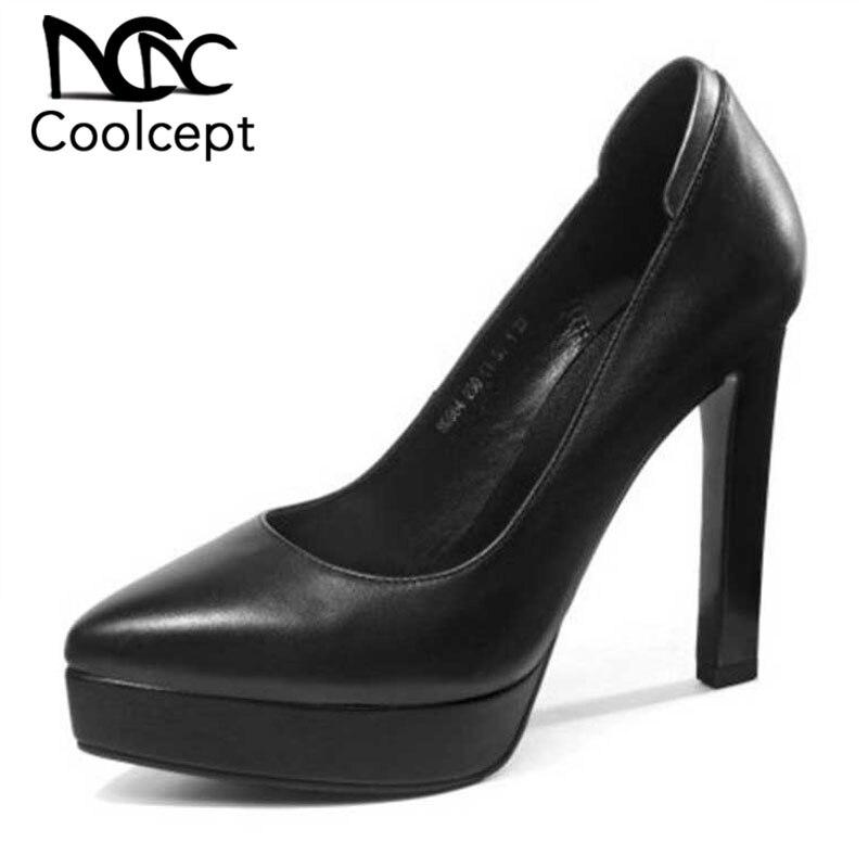 f9fcd0b06d5 Plataforma Moda Mujeres Coolcept Calzado Tacón De blanco Genuino Negro  Tamaño Zapatos 39 34 Cuero Las Alto ...