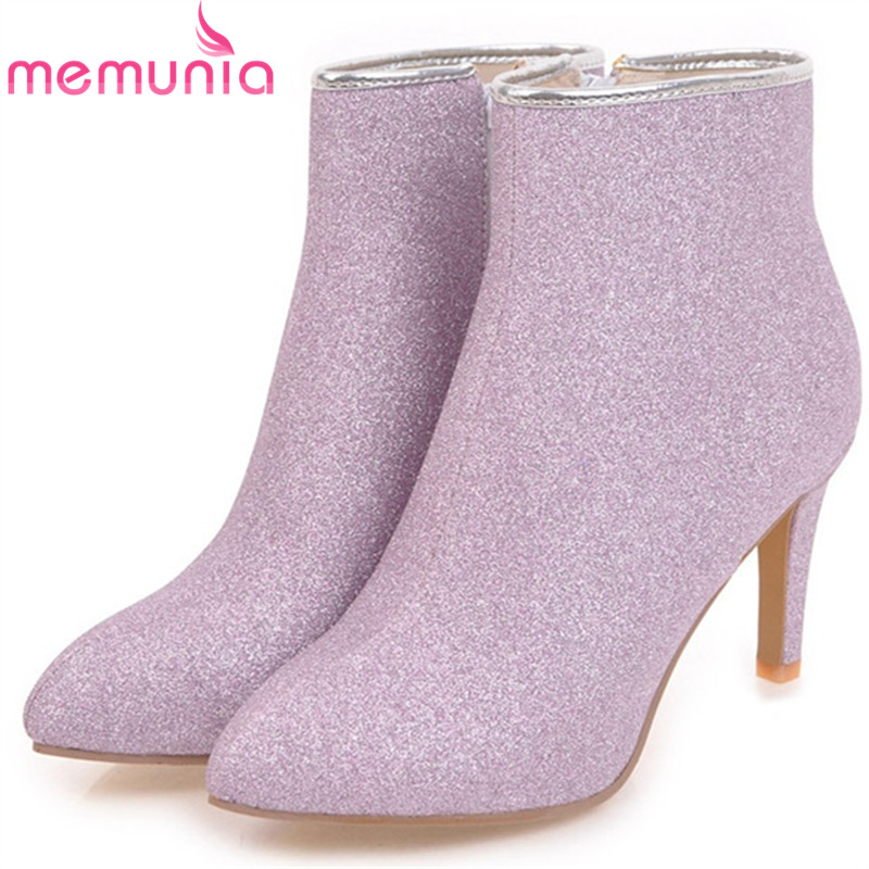 MEMUNIA Large size 34-43 sexy lady womens boots female thin heels shoes woman ankle boots for women spring autumn big size 34-43 enmayla ankle boots for women low heels autumn and winter boots shoes woman large size 34 43 round toe motorcycle boots