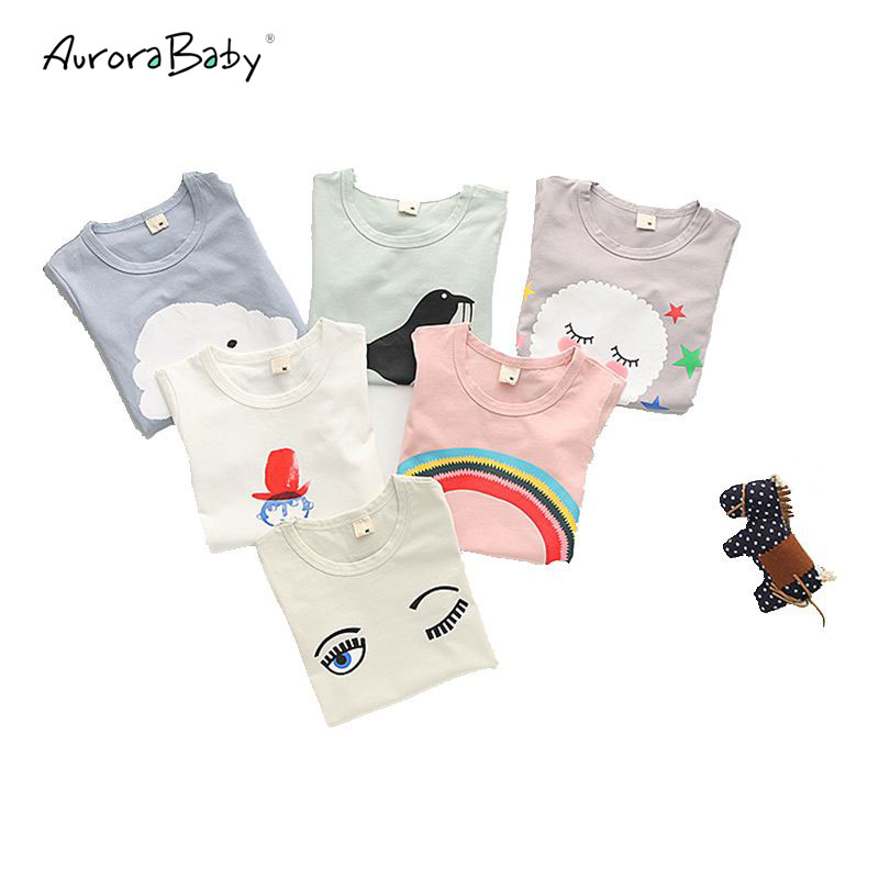 On Sale Baby Girls T-shirt cotton cartoon 2016 Summer Lovely Cute Middle Small Girl Children T shirt Kids Clothes New Arrival