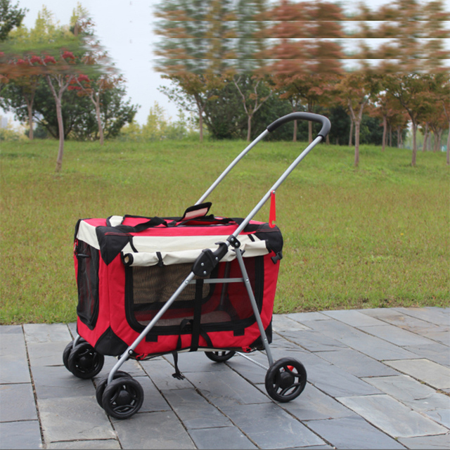 ff19bc74f Quick Folding Thicken Pet Carrier 600D Oxford Cloth Waterproof Breathable  Dog Cat Bag Four Wheels Pet Stroller 15 Bearing