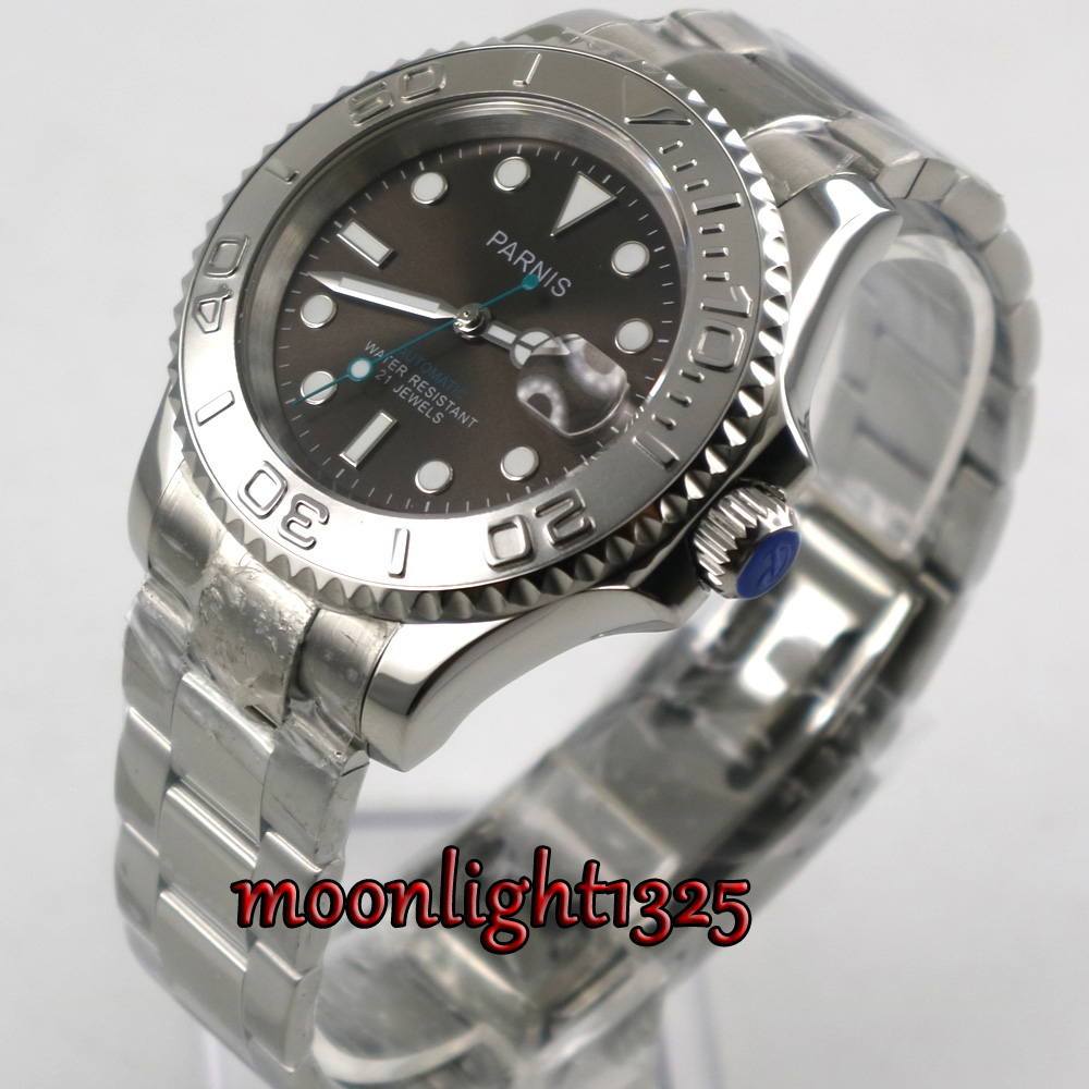 41mm Parnis coffee Dial Sapphire Glass Romantic Sweet Date window 21 jewels Miyota 8215 Automatic Movement men's Watch l120 romantic date