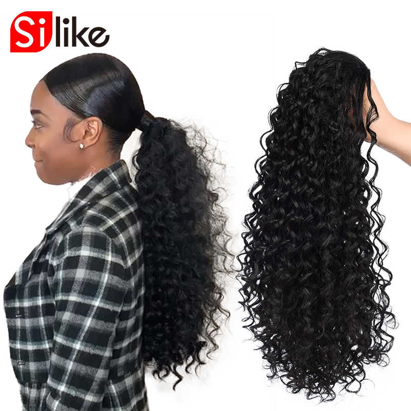 Silike основа конский хвост наращивание волос 12 дюймов кудрявые шнурки конский хвост 150 г/упак. африканские американские обертывания синтетический зажим в
