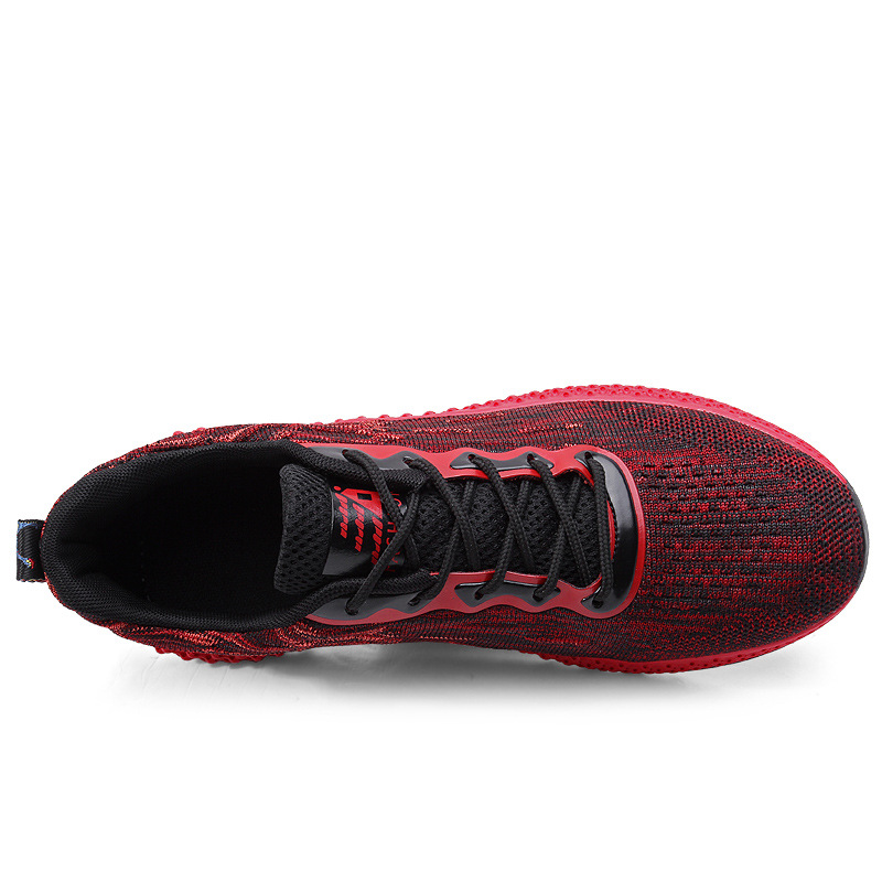 Running Shoes for Men Breathable Flyknit Plus Size 45 46 Summer Red Ultralight Long Race Jog Men Sports Shoes zapatillas hombre in Running Shoes from Sports Entertainment