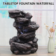 17x24x35cm Home Indoor Decoration 6 Tier Tabletop Fountain Resin Mountain  Waterfall With Multicolor LED Lights