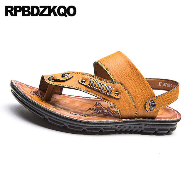 aa3002d11410b US $32.42 36% OFF|Leather Famous Brand Roman Slides Metal Slippers Casual  Men Gladiator Sandals Summer Native Slip On Brown Shoes Italian Toe Loop-in  ...