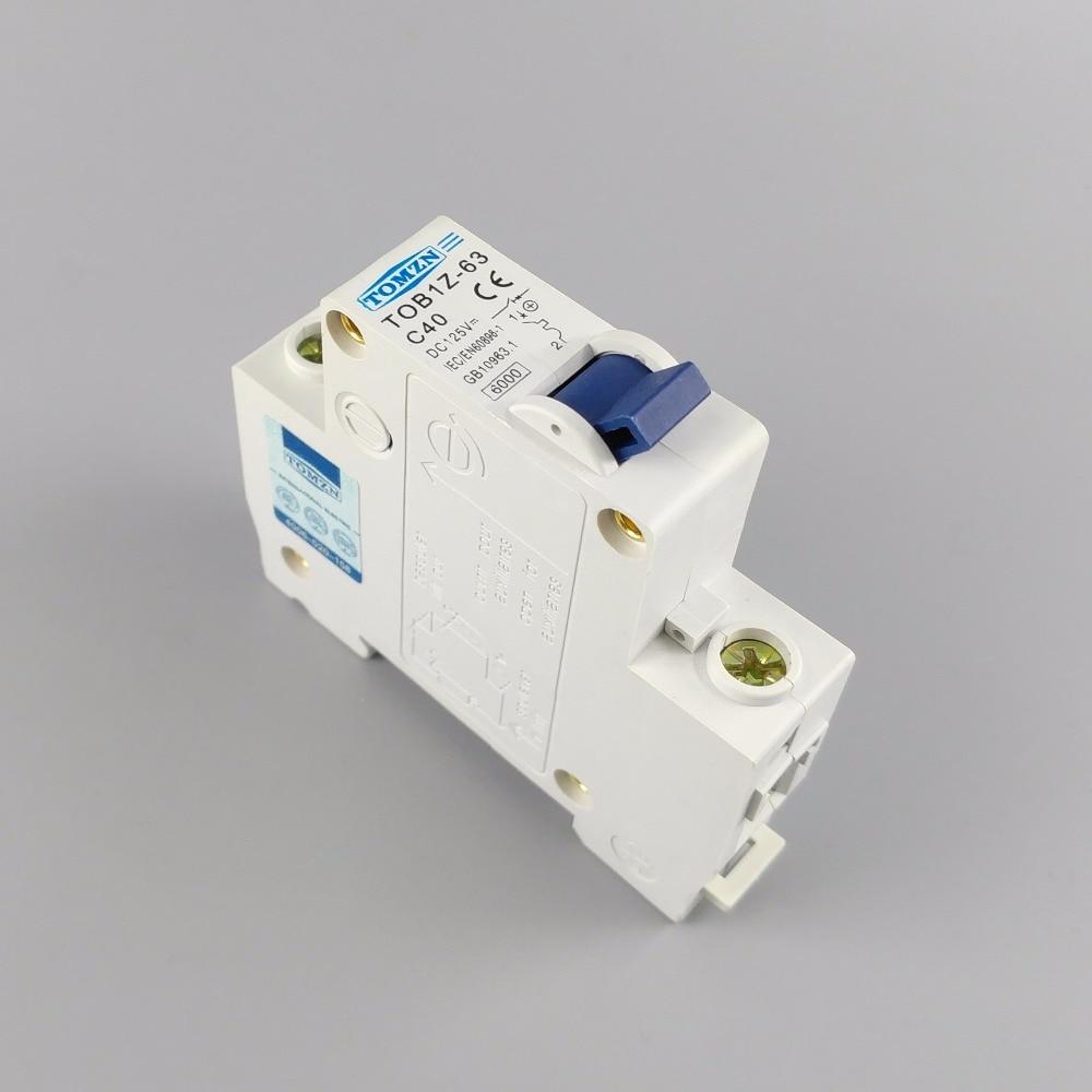 40A DC Circuit Breaker MCB Solar Fuse 125v Single Pole 1P TOB1Z-63 C40 New UK