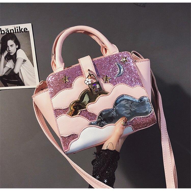 New Fashion Handbag High Quality PU Leather Women Tote Bag Sweet Lady Sequins Portable Bag Cloud Shoulder Messenger Bags