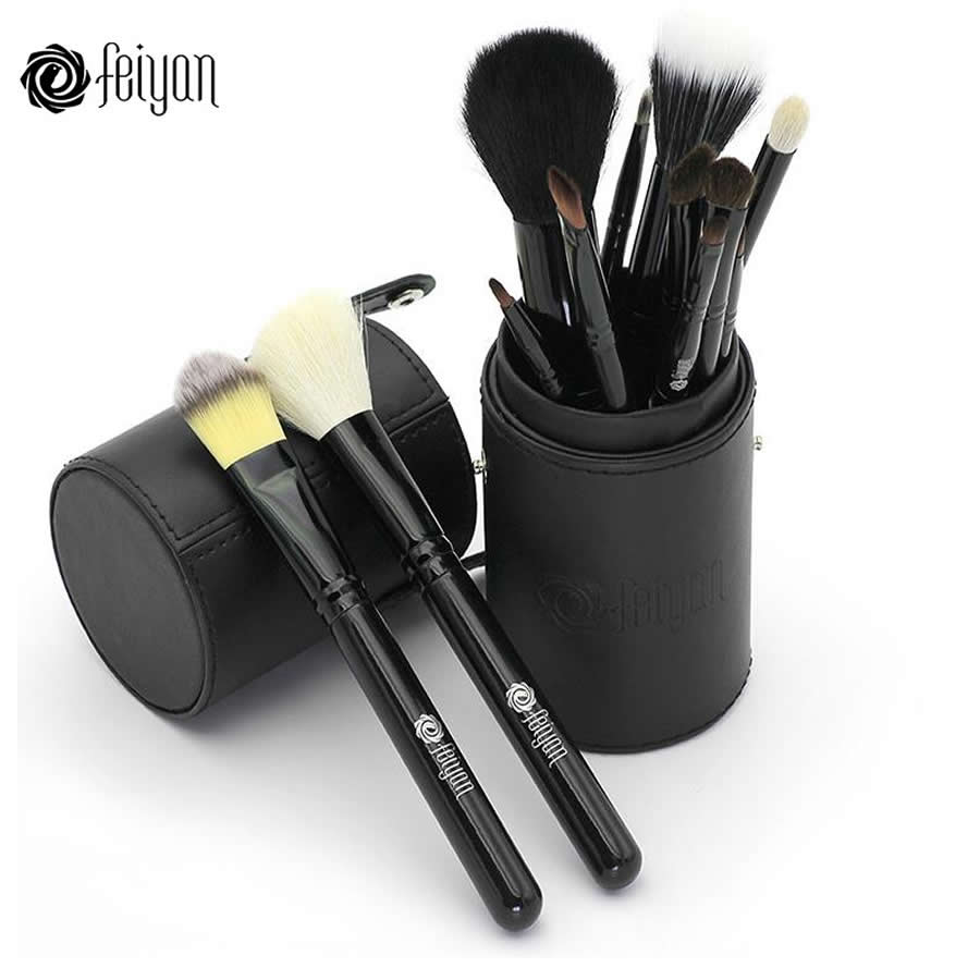 Feiyan Makeup Brushes Set 12 pcs Face Foundation Powder Eye Cosmetic brush Kit Natural Hair With Portable Cup Cylinder Holder at fashion 12 pcs makeup brushes set studio holder portable make up cup natural hair synthetic duo fiber makeup brush tools kit