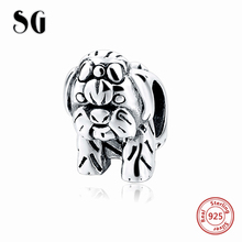 SG 925 sterling silver animal cute dog charm with vintage beads fit Bracelet diy Jewelry for women Gifts